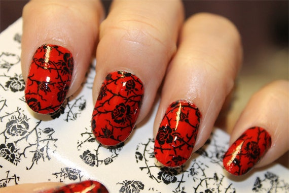 Black Roses On Clear Nail Art Wrap Rtb Waterslide Transfer Etsy