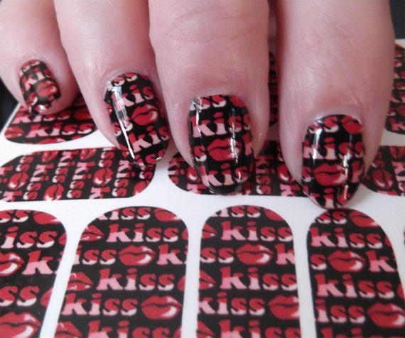 18 Kiss Me Lips Nail Art Packs Kwf Full Nail Wrap Red Lips Etsy