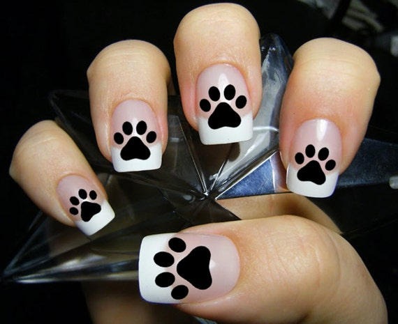 48 PAW PRINTS Nail Decals (PAW) - Kitten Puppy Dog Paws Black Cat Nail Art  Nail Stickers. Black cat paw print nails, Cat Lover Gift from NorthofSalem  on ... - 48 PAW PRINTS Nail Decals (PAW) - Kitten Puppy Dog Paws Black Cat