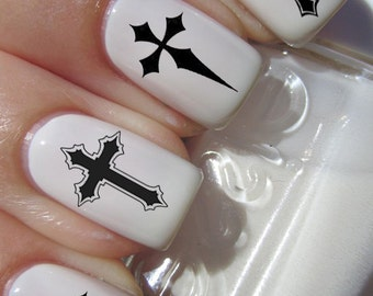 50 Black GOTHIC CROSS Nail Art (CRB) - Crosses Waterslide Transfer Decals - Not Stickers or Vinyl