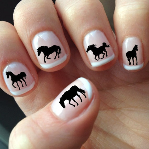 image 0 - 60 Black HORSE Nail Art HS1 SILHOUETTES Water Slide Etsy
