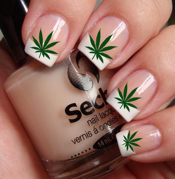 Pot Leaves Marijuana Pot Nail Art Ptg Waterslide Transfer Etsy