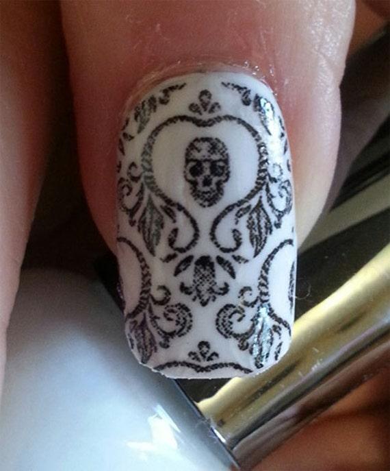 Skull Nail Art: Skull Nail Art Damask Nails SKD Day Of The Dead Full Long