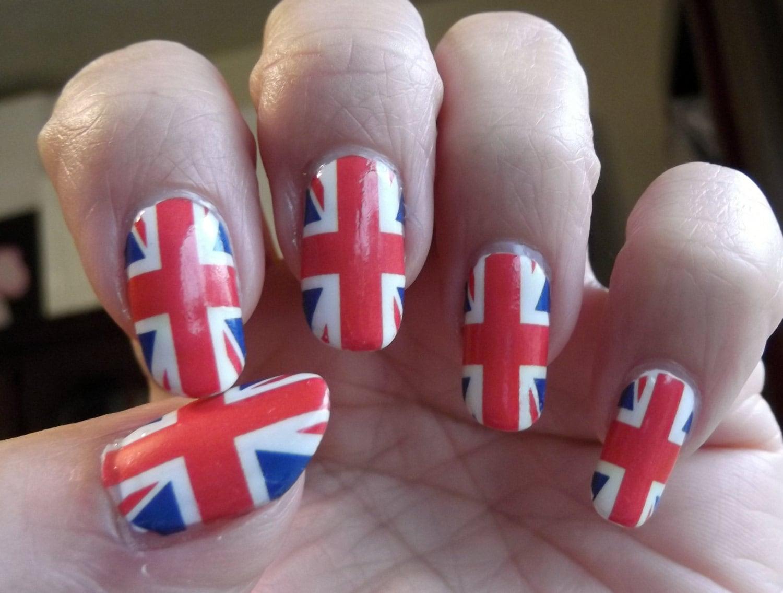 18 UNION JACK Nail art (UJF) Full Nail Wraps British Flag - Medium ...
