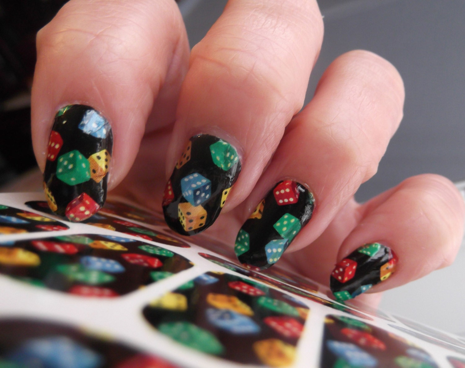 18 Dice Nail Art Decal Wraps Tiny Colorful Pattern On Black Etsy