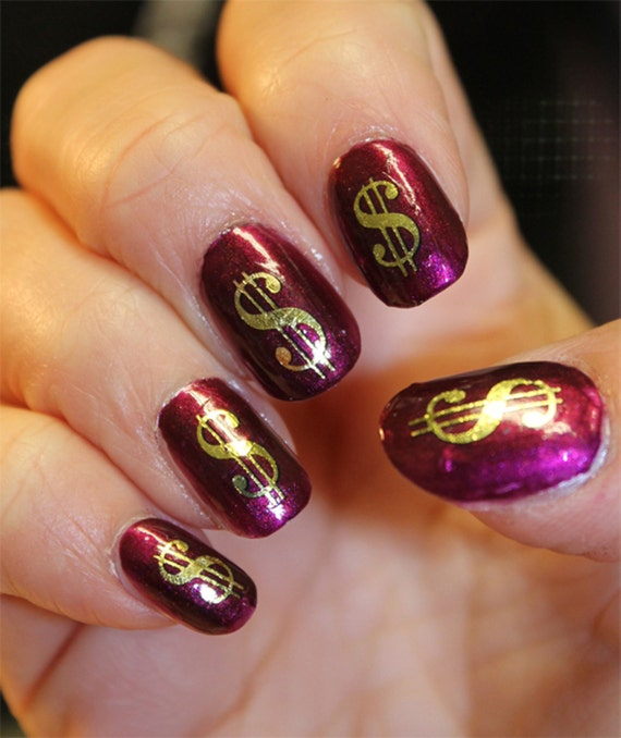 38 Gold Dollar Signs Nail Art Dsg Poker Casino Money Bling Etsy