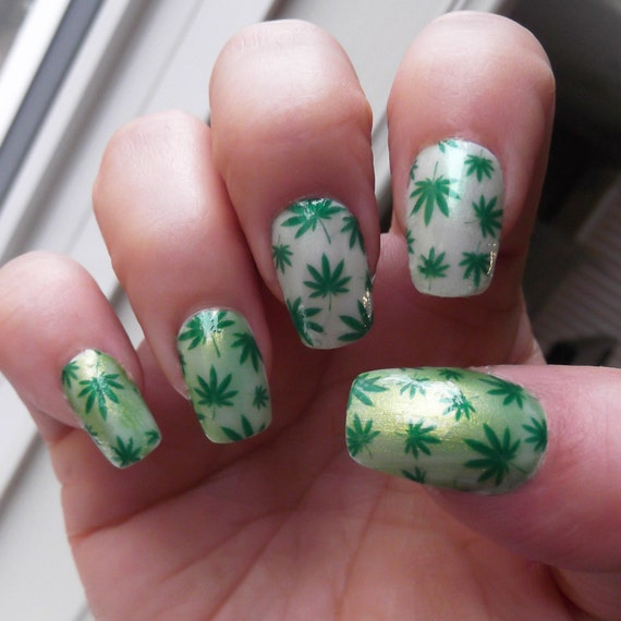 Pot Leaf Nail Art Decals Ptf Full Nail Wrap Decoration Green Etsy