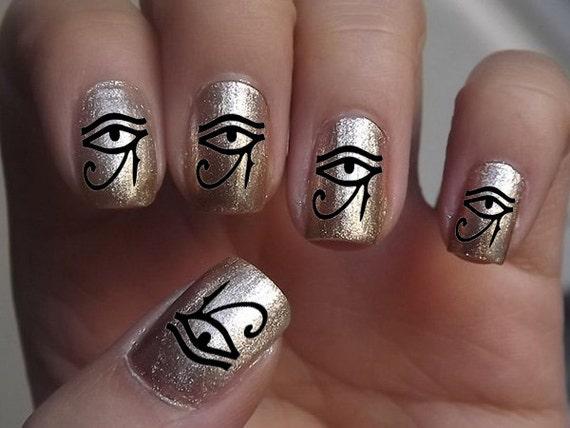 44 Eye Of Horus Ra Egyptian Nail Art Eyb Black Etsy