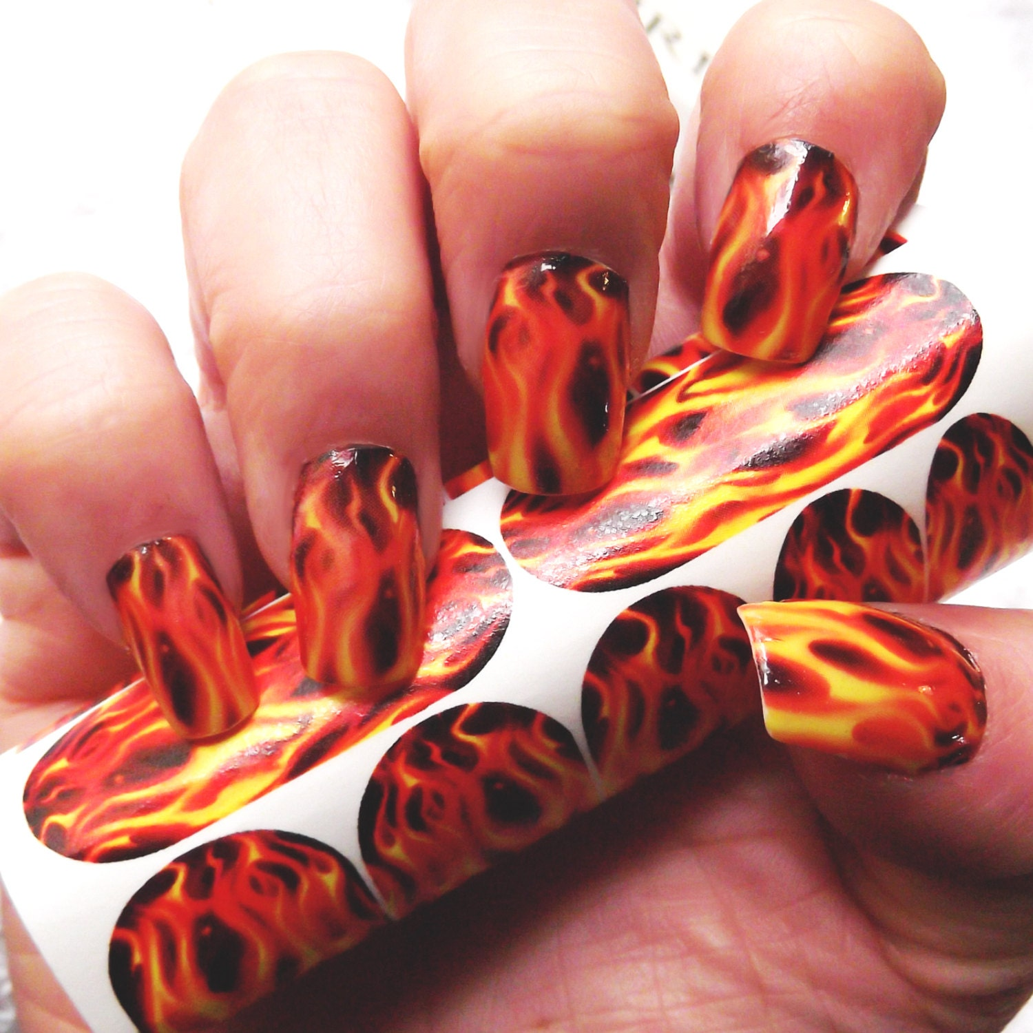 REAL FLAME Nail Art (FMR) For Long Nails -Hunger Games / Motorcycle  Inspired Full Nail Waterslide Decals Not Stickers