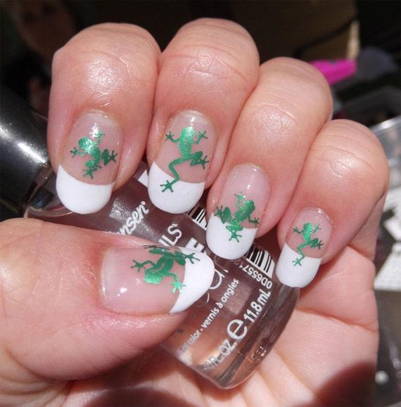 Frog Nail Art: 29 Green Metallic FROGS Nail Art FRG Water Slide Transfer