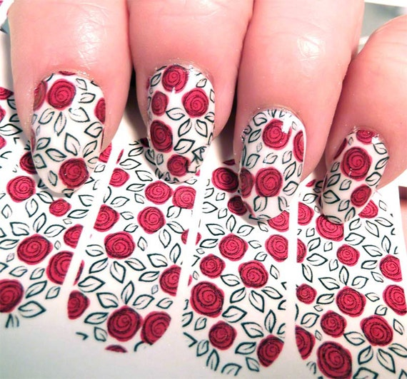 18 Red Rose Nail Art Decals On Clear Ros2 Look Hand Painted Etsy