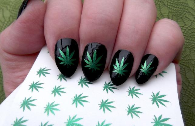 Green Metallic Pot Leaves Nail Art Ptm Symbols Pot Leaf Etsy