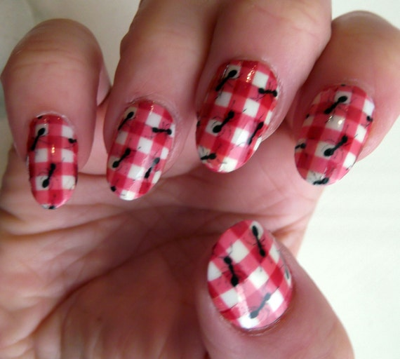 Picnic With Ants Nail Art Wraps Ant Red Plaid Check 18 Full Etsy
