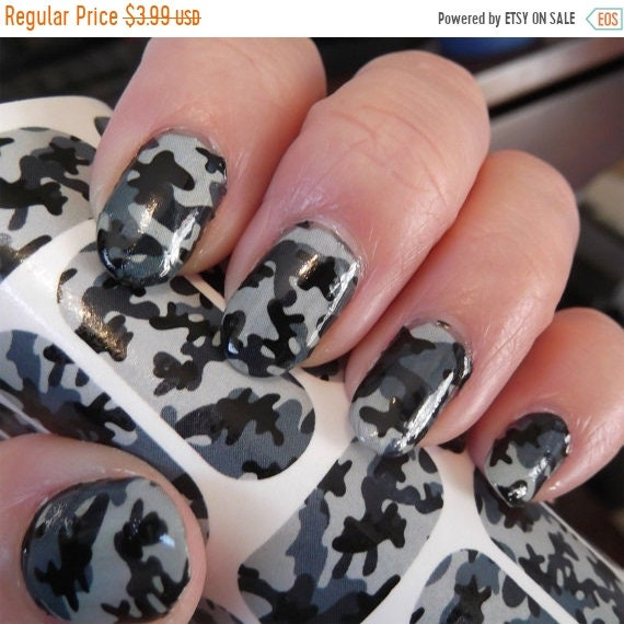 ON SALE GREY Camo Nail Art Camouflage Nail Art, Army Girl, Hunting Camo, 18  Transparent Colors Waterslide Decals for Full Nail Wrap, ... - ON SALE GREY Camo Nail Art Camouflage Nail Art, Army Girl, Hunting