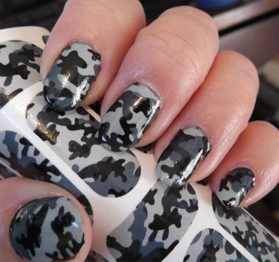 Grey Camo Nail Art Camouflage Nail Art Army Girl Hunting Etsy