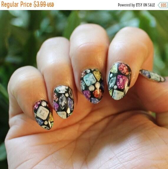 ON SALE 18 TINY Colorful Gems Nail Art Pattern on Black (Jem2 ...