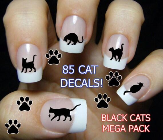image 0 - 85 BLACK CATS Nail Decals BC3 Cat Nail Art Tiny Cat Nail Etsy