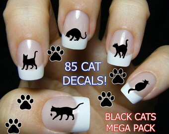 BLACK CAT Nail Art, Gifts for Cat Lovers, Black Cat Nails, Cat Nail Stickers, Cat Waterslide Decals, 85 Water Slide Transfer Decals MEGAPACK