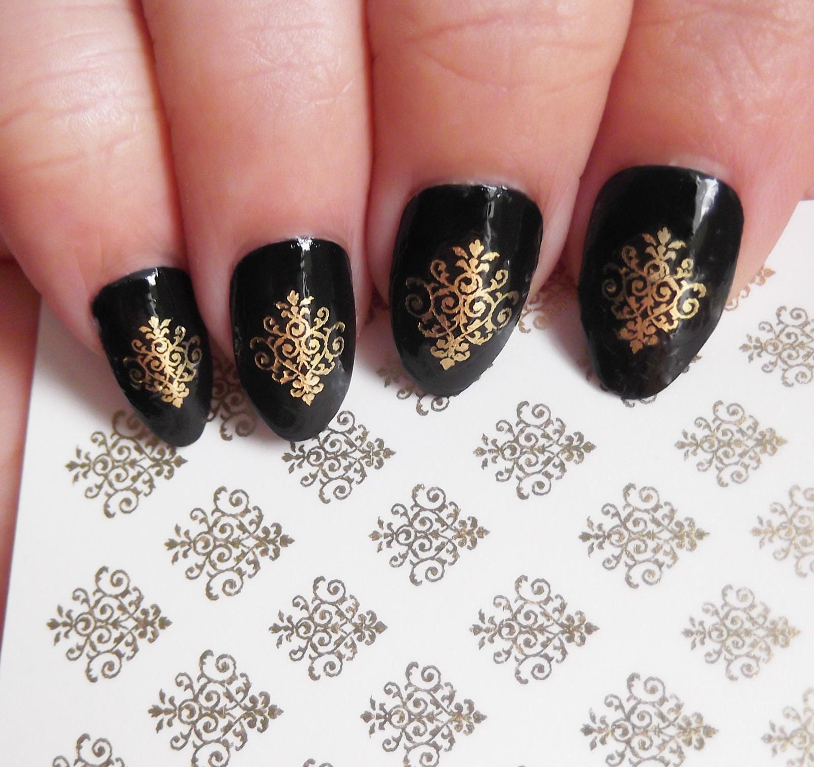 28 Gold Lace Damask Nail Art Dmgs Waterslide Transfer Decals Etsy