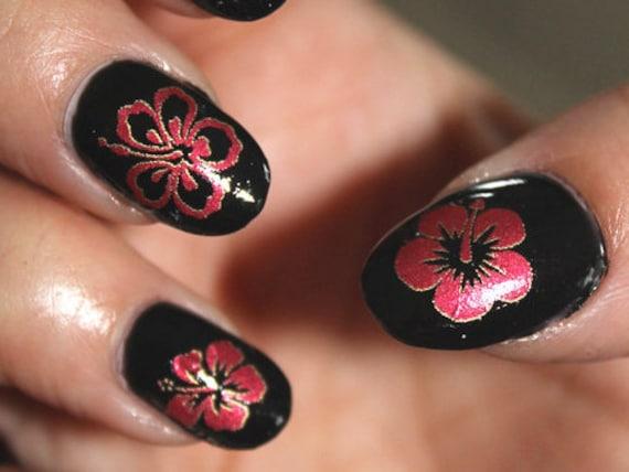 Large Hibiscus Nail Art Megapack 43 Red Metallic Flower Etsy
