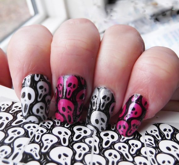 Scary Skull Nail Art Movie Decals Skm Full Nail Wrap Etsy