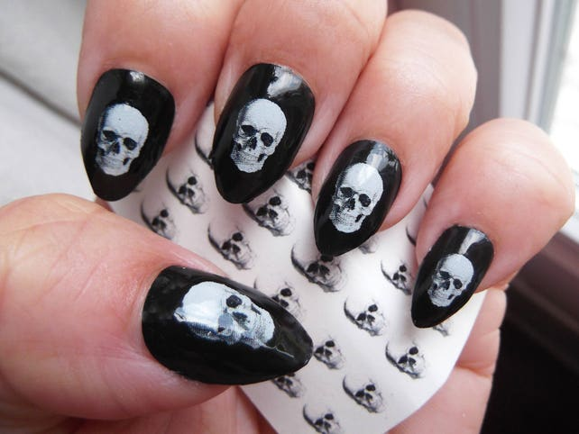 image 0 - White SKULL Nail Art Decals SKU 35 Realistic Looking Skulls Etsy
