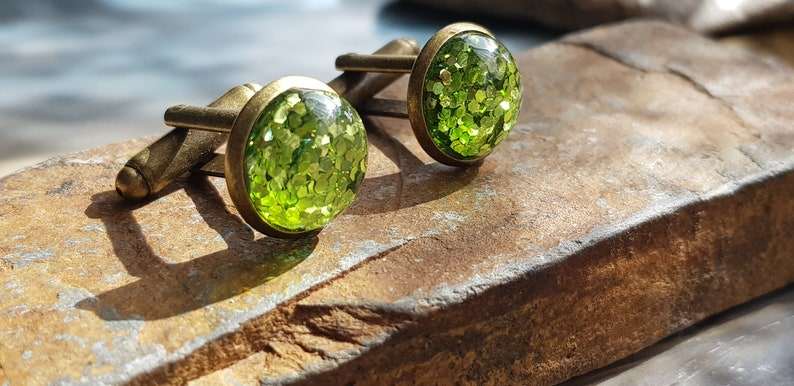 Green Glitter Resin Dome 12mm Cabochon and Bronze Cufflinks