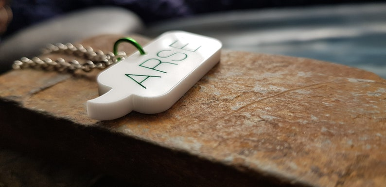 Speech Bubble Laser Cut Acrylic Necklace with 20 Inch Silver Plate Chain ARSE Blue Pink or Green Lettering.