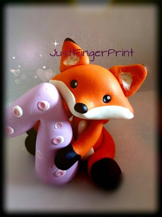 Baby Fox Cake Topper ~ Figure Woodland ~ maintient saké Handmade
