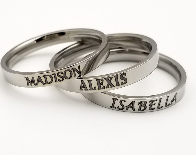 Stainless Steel Personalized Laser Engraved Stackable Rings, silvertone, 3mm, customized