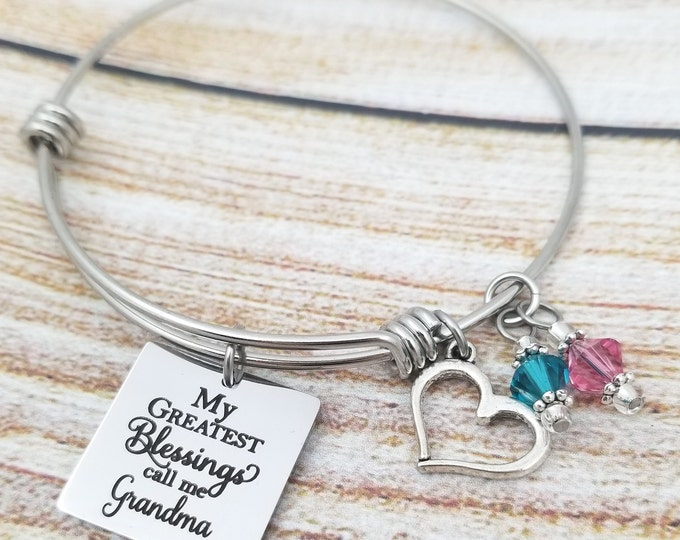 Customizable Greatest Blessings Expandable Bangle Charm Bracelet, grandmother's bracelet, mother's jewelry,my kids, mother's day gift