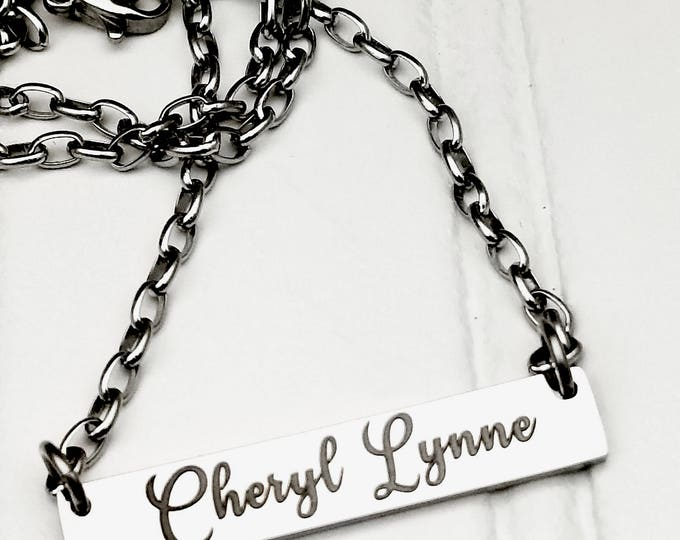 Engraved Personalized Name Bar necklace, family necklace, gift, stainless steel, customized