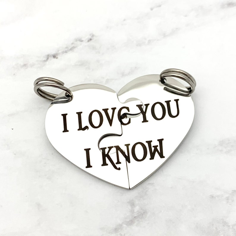 I love you I know Engraved Star Wars Key Chain anniversary image 0