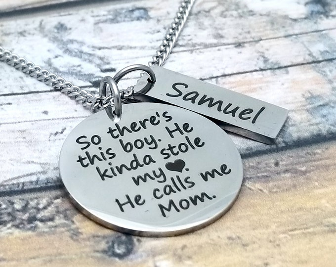 This Boy Stole My Heart Personalized Pendant Set