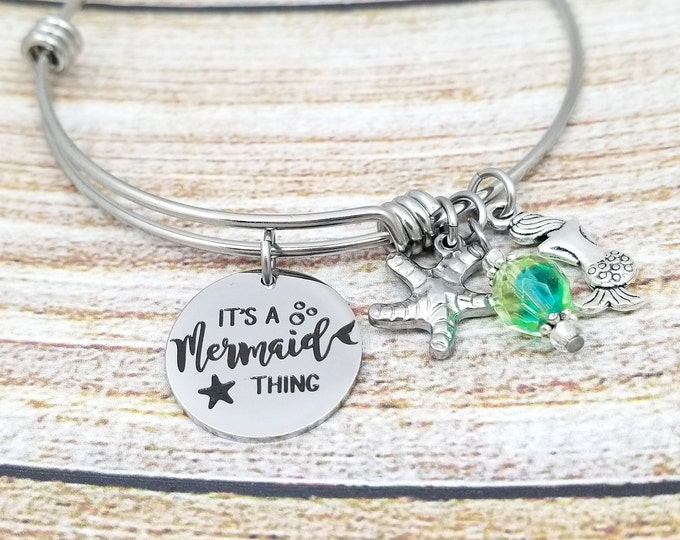 It's a Mermaid Thing Customizable Expandable Bangle Charm Bracelet, beach jewelry, mermaid, ariel