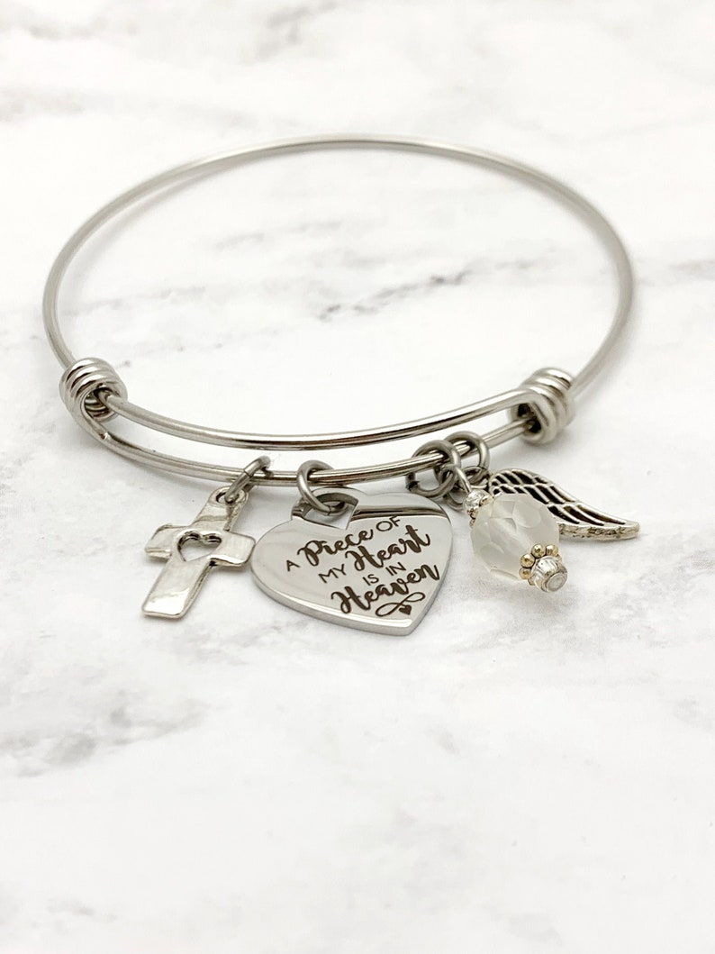 A Piece of My Heart is in Heaven Charm Bracelet sympathy image 0