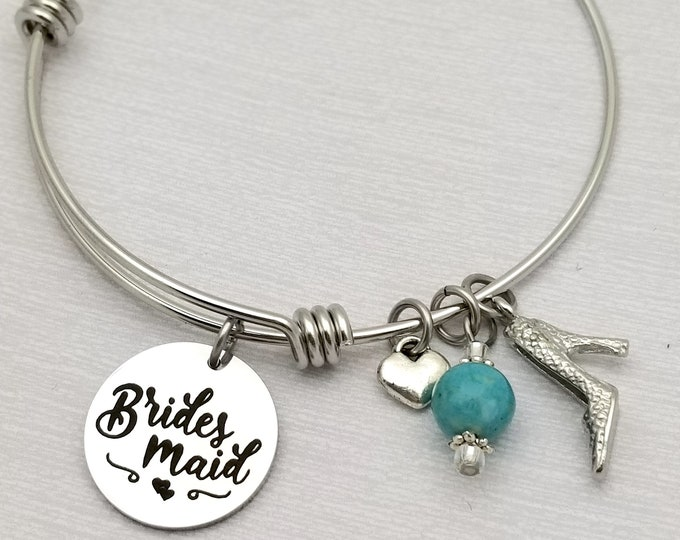 Bridesmaid customizable stainless steel bangle bracelet, wedding, best friends, wedding party gifts, engraved