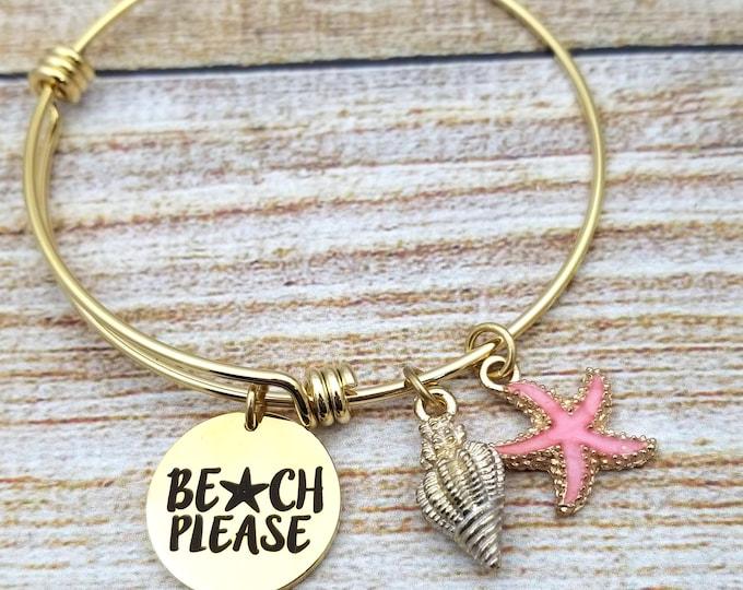 Beach Please Gold Tone Customizable Expandable Bangle Charm Bracelet, beach jewelry, starfish, seashell, summertime, vacation jewelry