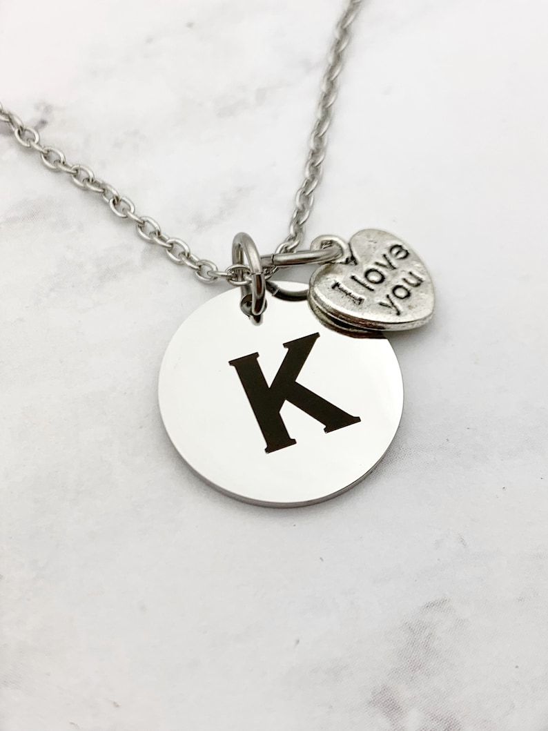 Simple Engraved Initial Necklace Custom Initial charm image 0