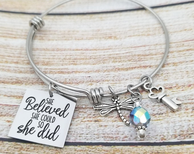 She believed she could so she did expandable bangle charm bracelet, resist, persist, never give up, strong women, never give up