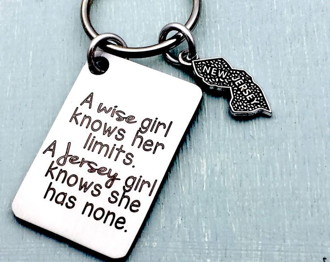 Laser engraved Jersey Girl Attitude Key Chain, jersey girl jewelry, NJ, New Jersey, Jersey Shore, Garden State, jersey girl gift