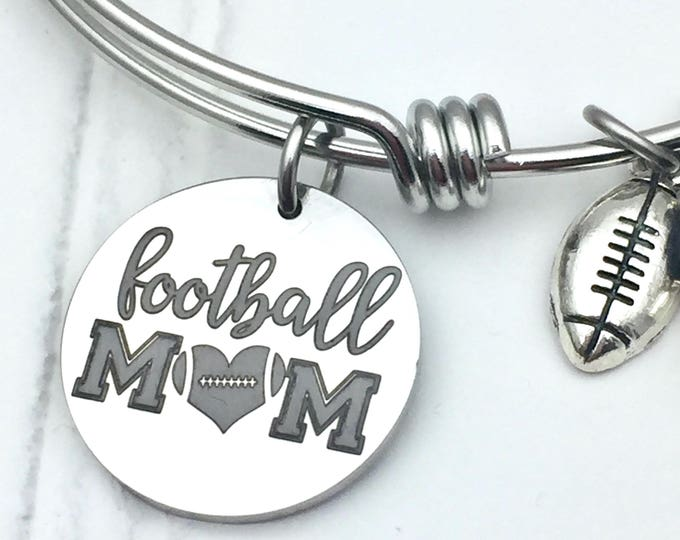 Football Mom Bangle Charm Bracelet, stainless steel, gift for sports mom, gift for her, jewelry for sports parents