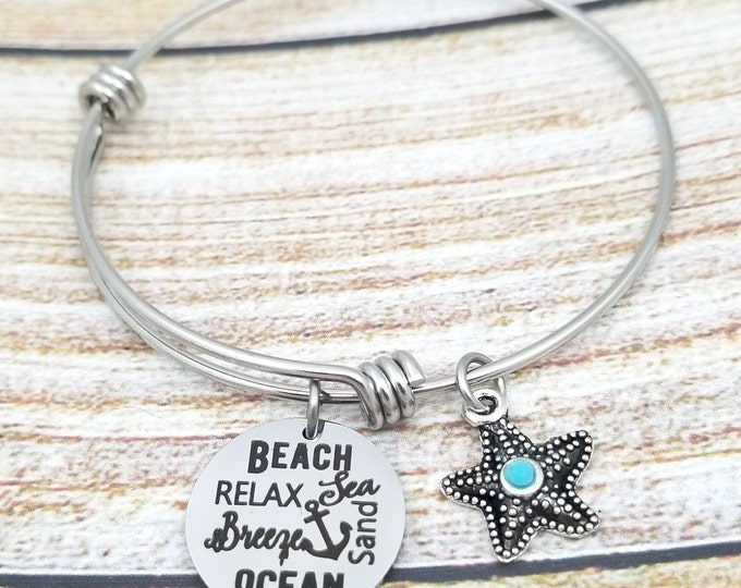 Beach of Words Customizable Expandable Bangle Charm Bracelet, beach jewelry, starfish, seashell, summertime, vacation jewelry