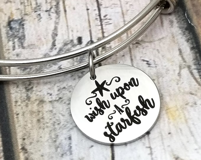 Wish upon a starfish Customizable Expandable Bangle Charm Bracelet, beach, ocean, wishes, gift, stainless steel
