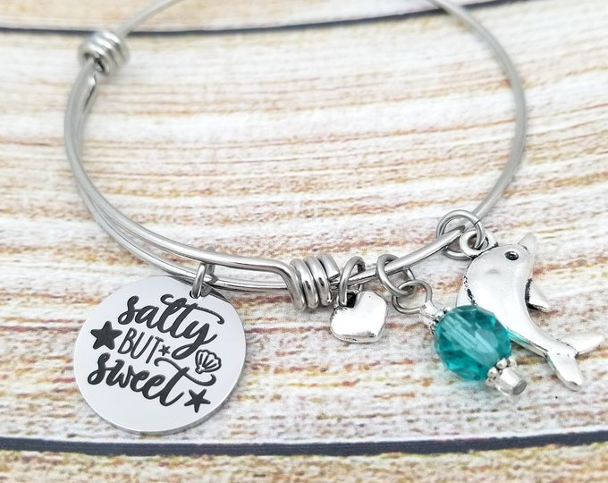 Salty but Sweet Customizable Expandable Bangle Charm Bracelet, ocean jewelry, dolphin, beach jewelry