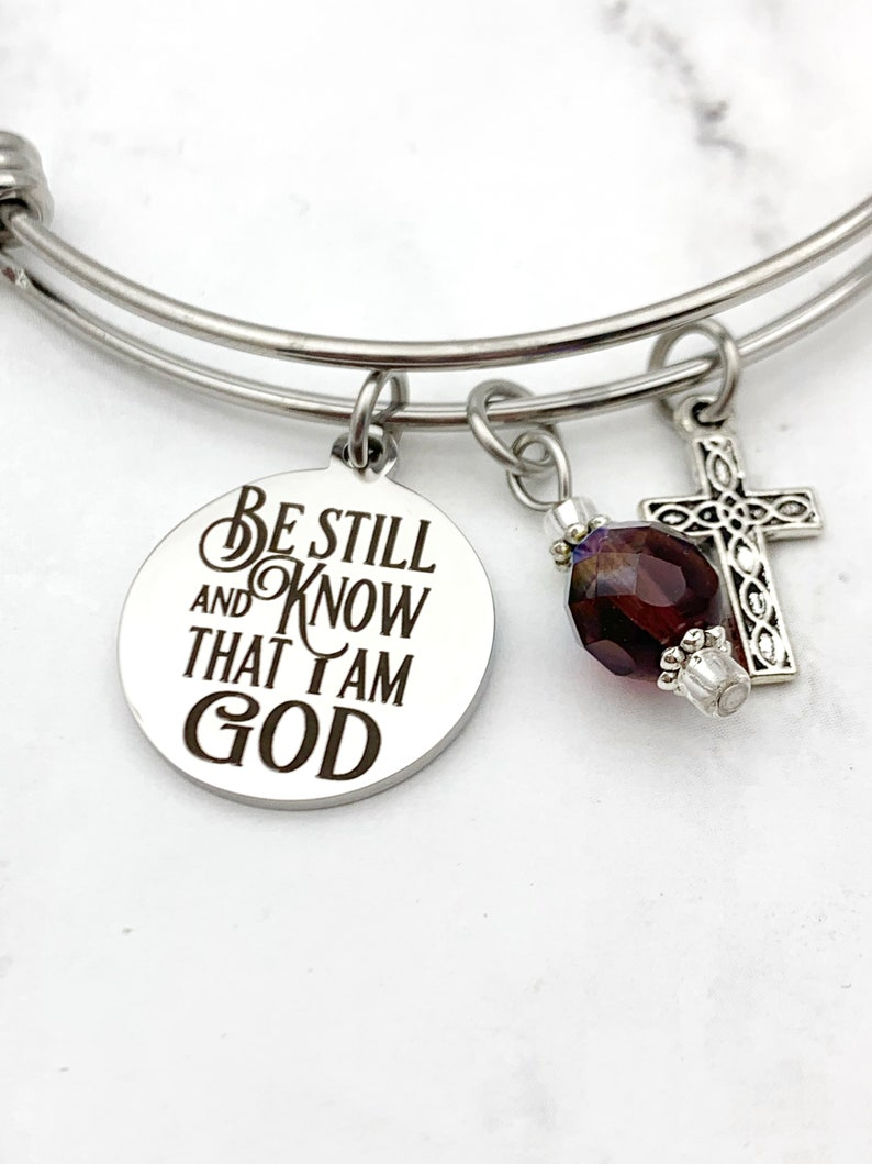 Be Still and Know that I am God Charm Bracelet Scripture image 0