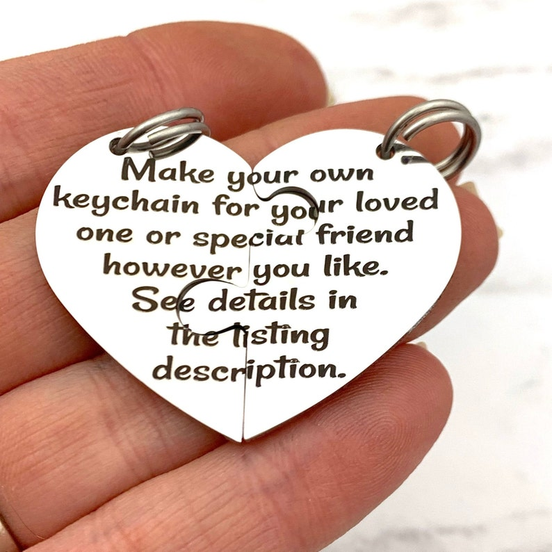 Engraved Puzzle Heart Keychain best friend heart halves image 0
