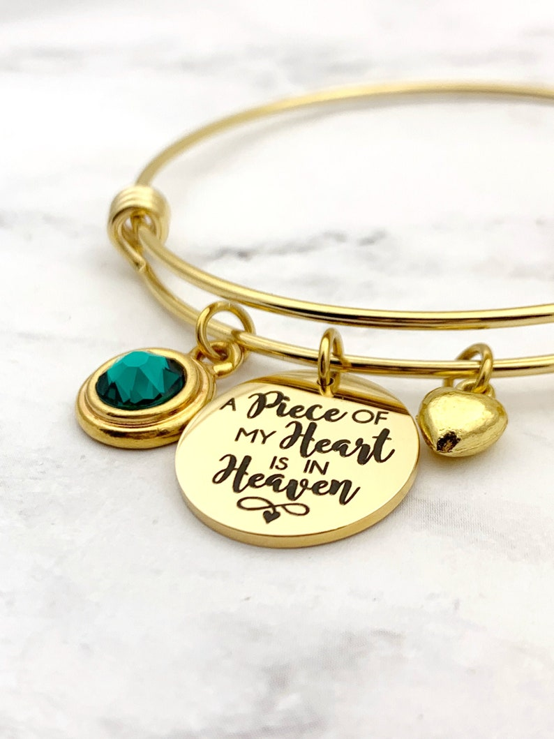 A Piece of My Heart is in Heaven Memorial Gold Charm Bracelet image 0