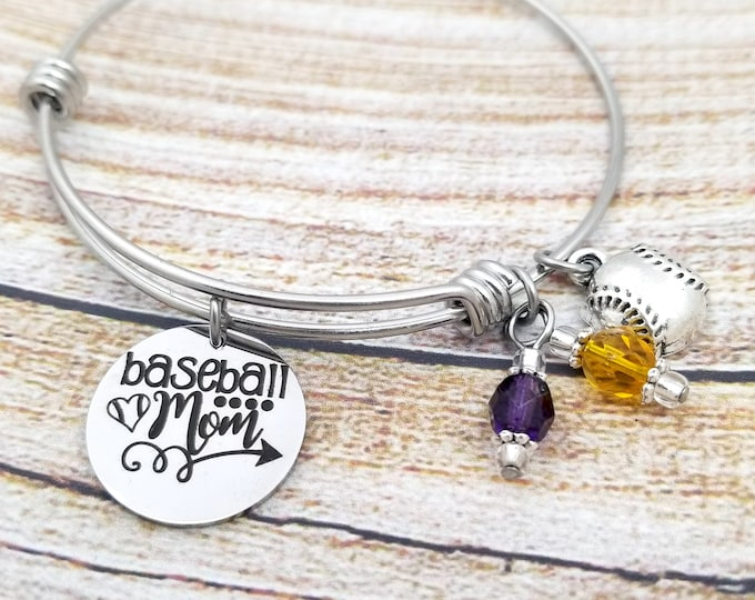 Baseball Mom Bangle Charm Bracelet, stainless steel, gift for sports mom, gift for her, jewelry for sports parents