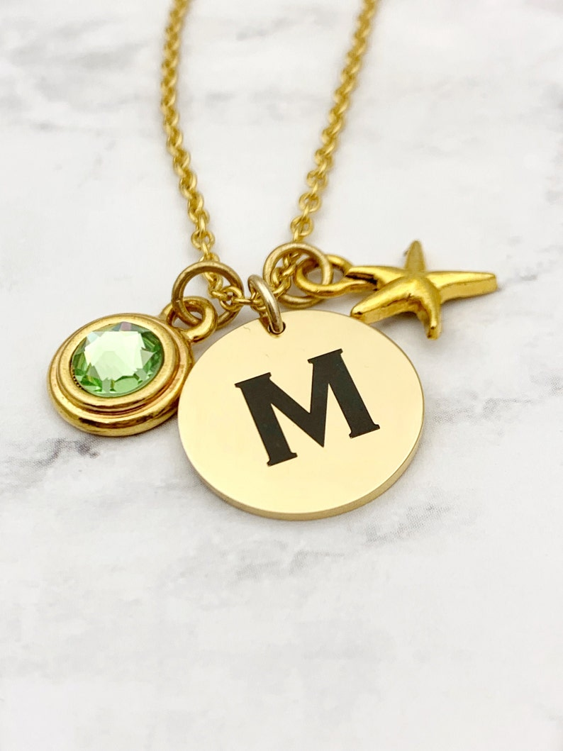 Simple Birthstone and Initial Gold Tone Necklace Custom image 0